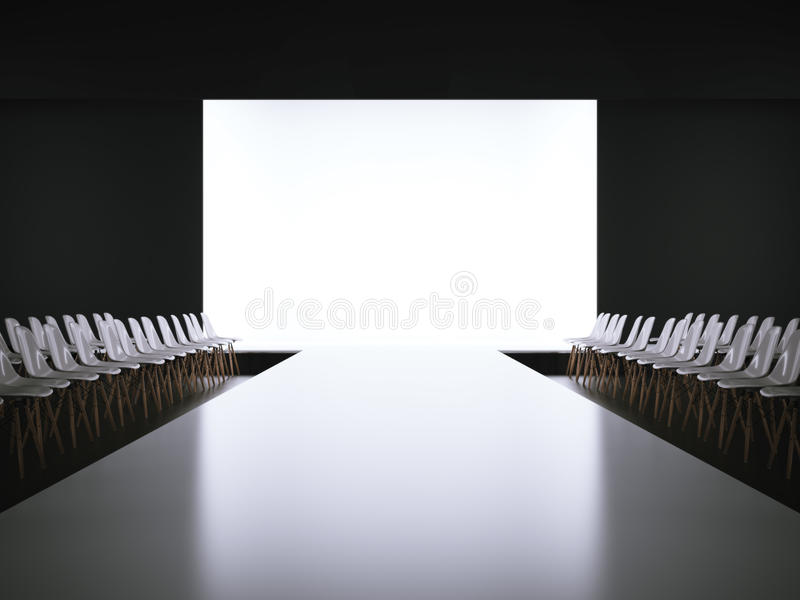 empty white runway and chairs 3d rendering stock image