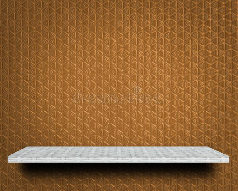 Empty shelf on brown texture for product display stock image