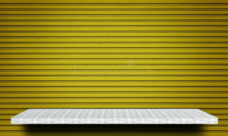 Empty shelf counter on yellow line metal for product display stock images