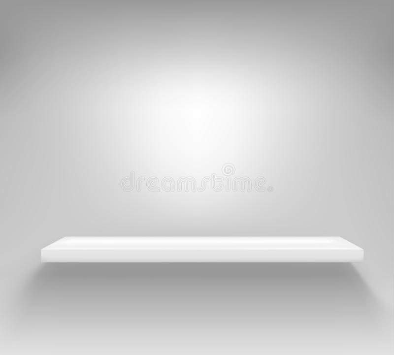 Empty white shelf hanging on a wall vector illustration