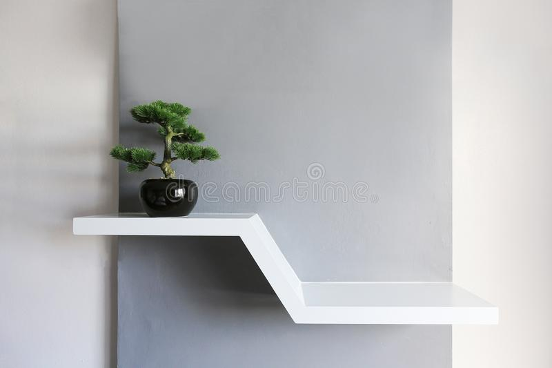 Empty white shelf, retail shelves from plywood frame. royalty free stock photo