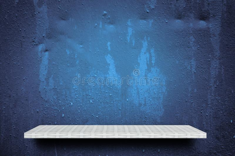 Empty shelf on wet blue background for product display stock photography