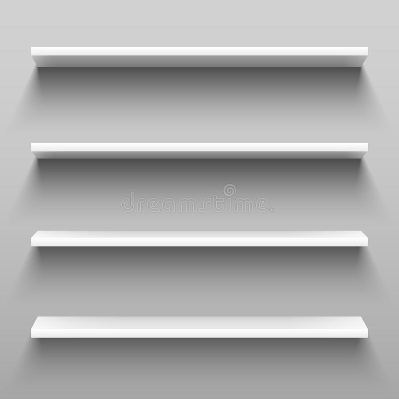 Empty white shelves for home shelving furniture. Realistic group of racks, storage shelf with shadow or shop rack vector. Empty white shelves for home shelving royalty free illustration