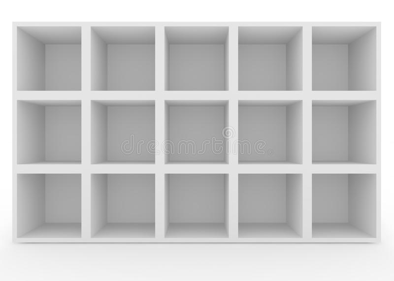 Empty white shelves with no lighting. Isolated background stock illustration