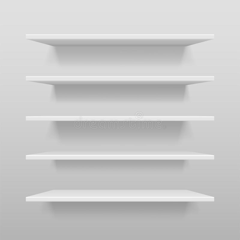Empty white shop or exhibition shelf, retail white shelves mockup. Realistic vector bookshelf with shadow on wall, 3d vector illustration