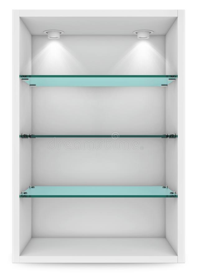 Empty white showcase with glass shelves for exhibition. islolated on white with clipping path. 3d rendering. Empty white showcase with glass shelves for stock illustration