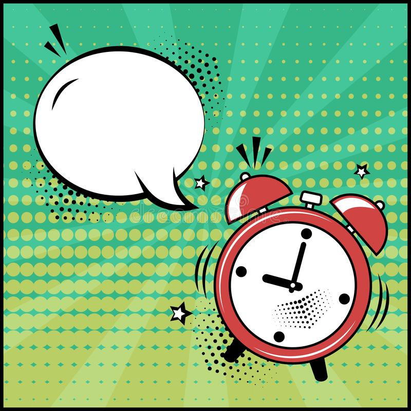 Empty white speech bubble and red alarm clock on green background. Comic sound effects in pop art style. Vector royalty free illustration