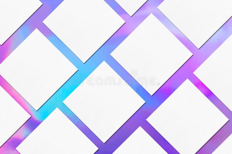 empty white square business card mockups lying diagonally on holographic background stock image