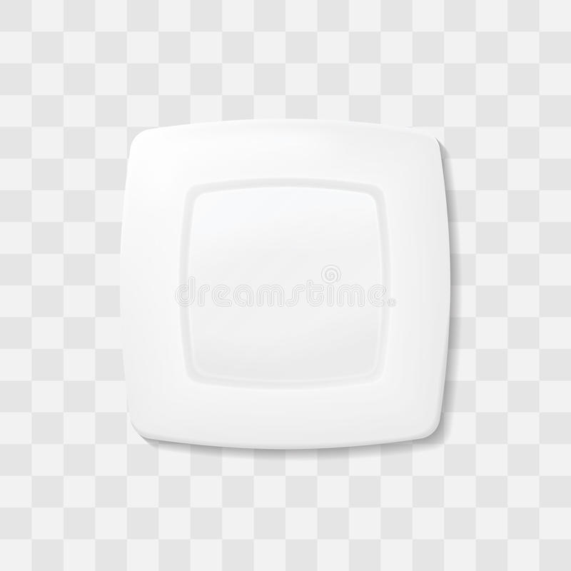 Empty white square plate. Top view dish Realistic vector. Empty white square plate. Top view dish Realistic vector royalty free illustration