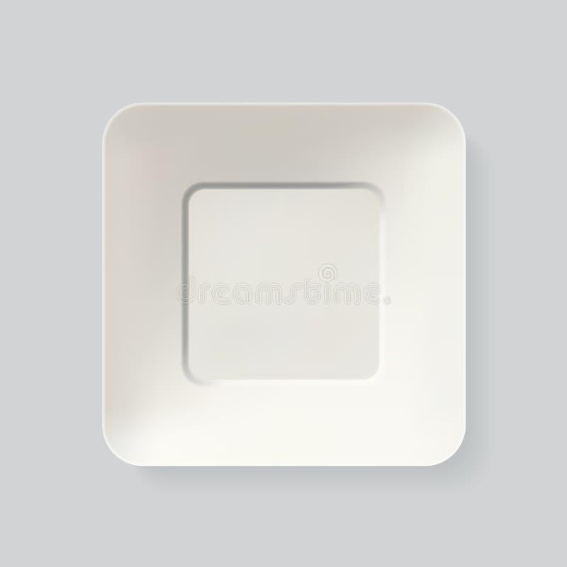 Empty white square plate. Top view dish realistic vector. Empty white square plate. Top view dish Realistic vector vector illustration