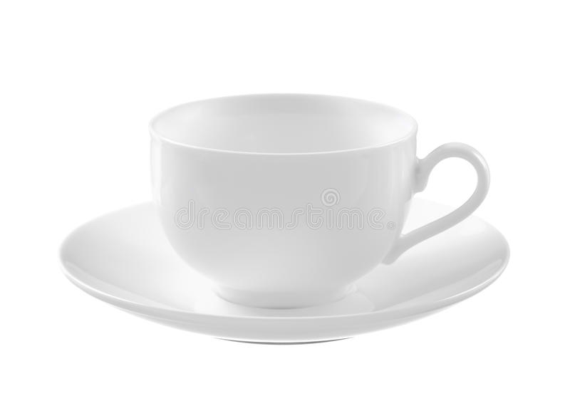 Empty white tea cup and saucer royalty free stock image