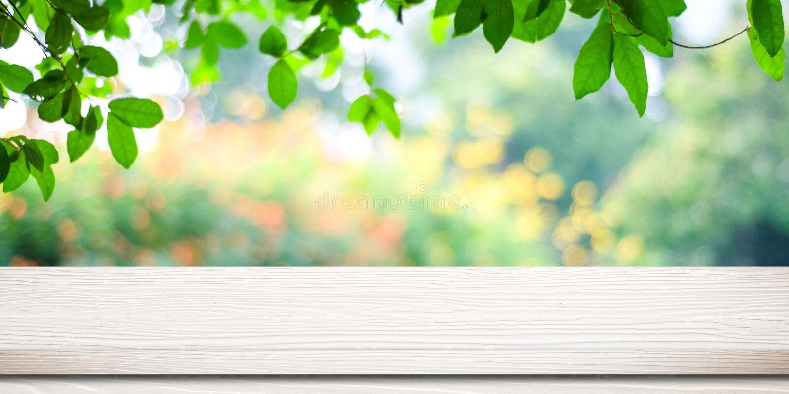 Empty white vintage wooden table over blurred park nature background, banner for product display montage, spring and summer royalty free stock photo