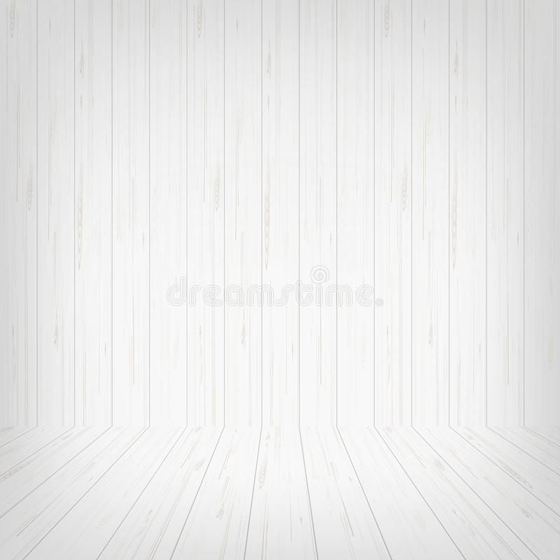 Empty white wooden room space background. Vector. stock illustration