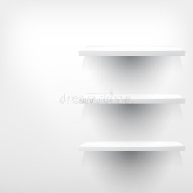 Empty white wooden shelf at the wall. Empty white wooden shelf at the wall with copy space. EPS 10 royalty free illustration