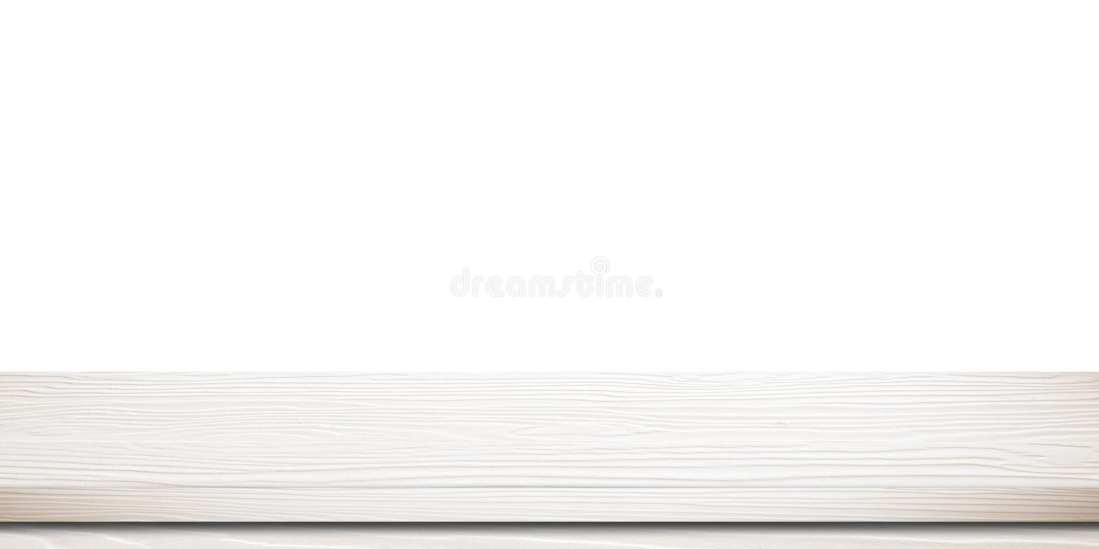 Empty white wooden table, isolated on white background, banner, table top, shelf, counter design for product display montage stock photos