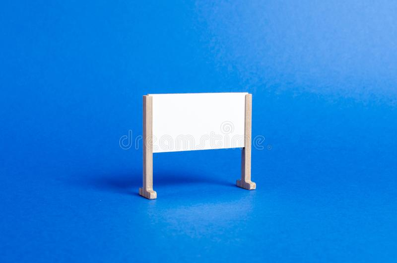 Empty whiteboard or stand. Minimalism. Business process concept, strategy planning at meetings and briefings. Education, teaching. Master classes and lessons stock image