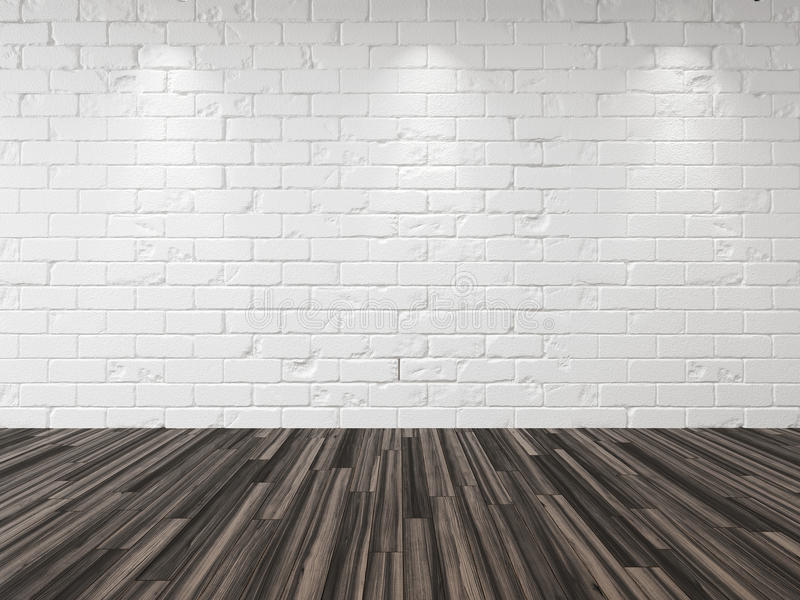 Empty whitewashed brick room background. Empty whitewashed brick room with recessed down lights illuminating the brick wall and a hardwood parquet floor in an vector illustration