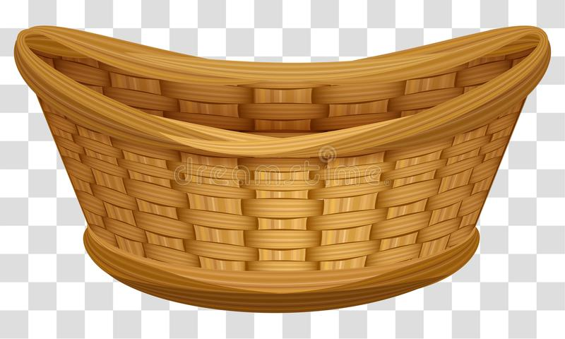 Empty wicker basket for flowers. Large birds nest for eggs vector illustration
