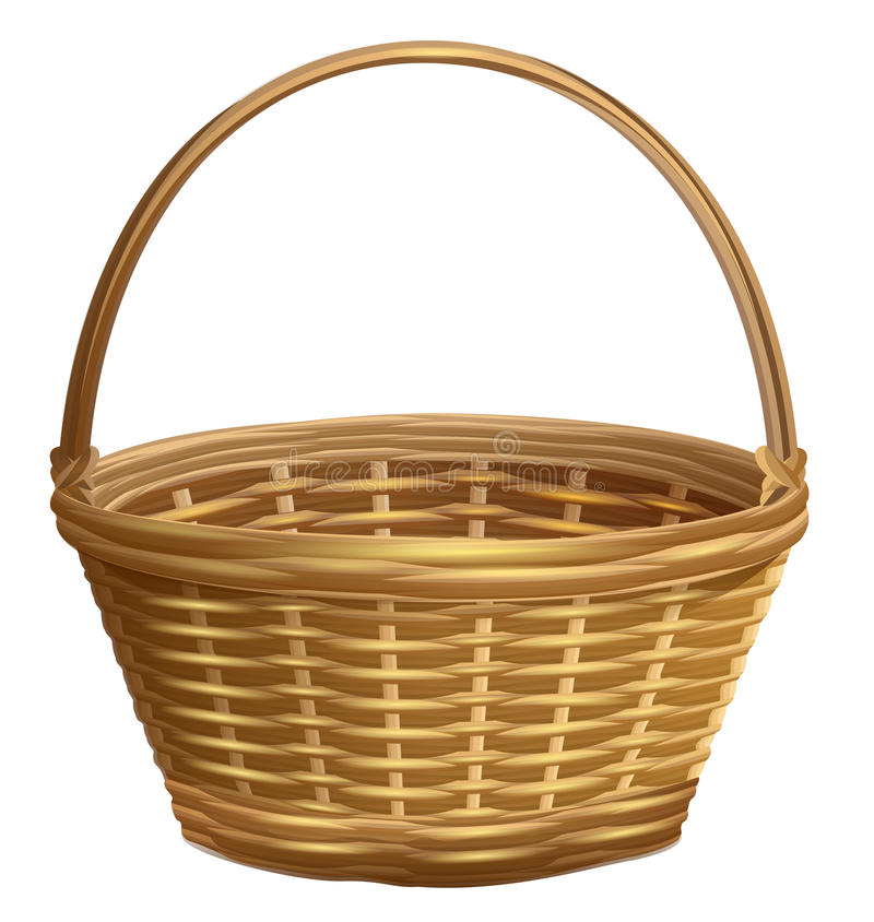 Empty wicker basket with handle arc. Isolated on white vector illustration stock illustration