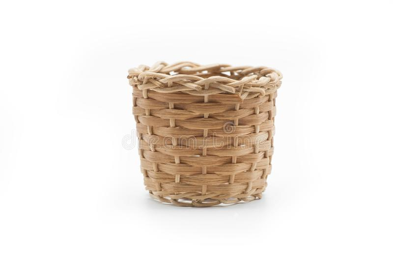 Empty wicker basket isolated on white royalty free stock photos