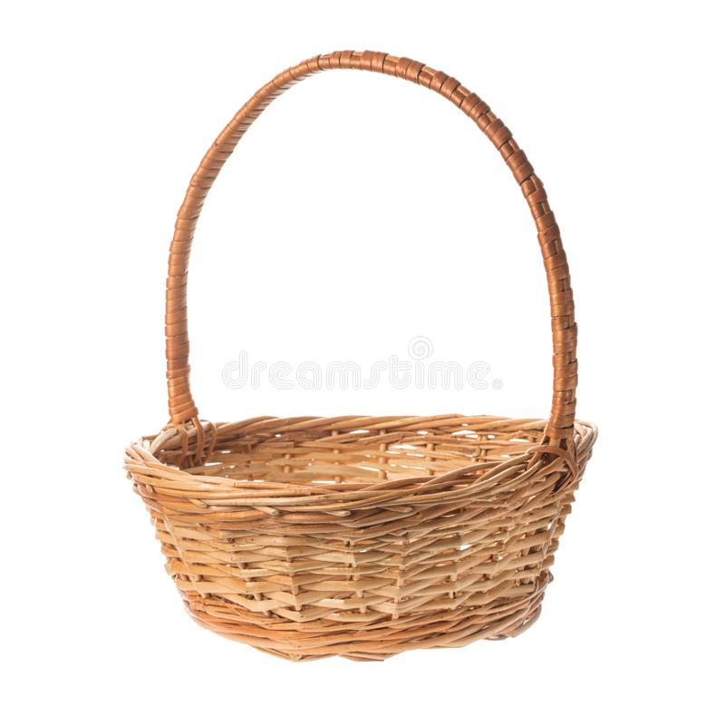 Empty wicker basket isolated on white background.  royalty free stock images