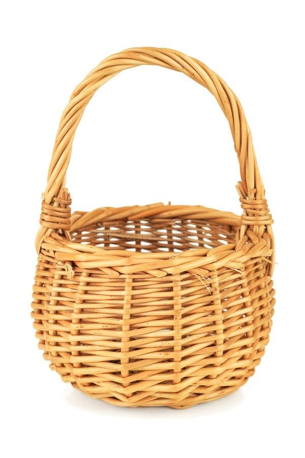 Free Empty Wicker Basket On White Backgorund Stock Photography - 26430892