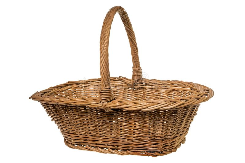 Empty Wicker basket over white royalty free stock image
