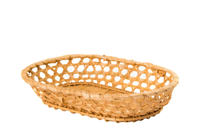 An empty wicker dish on white background royalty free stock image