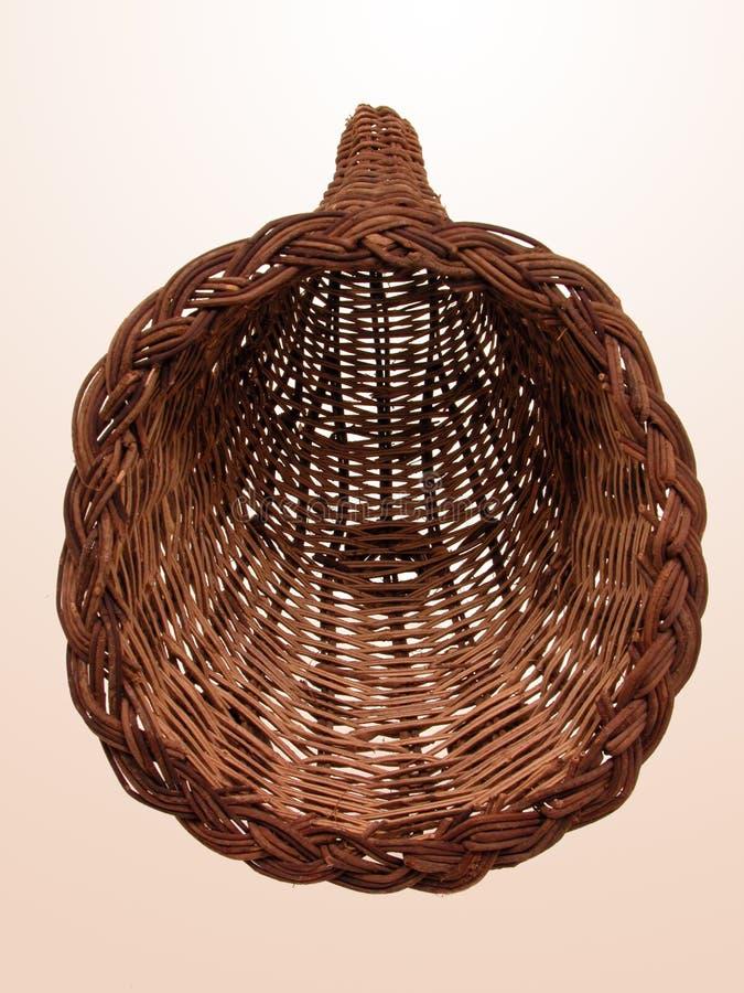Empty Wicker Horn Basket stock photography