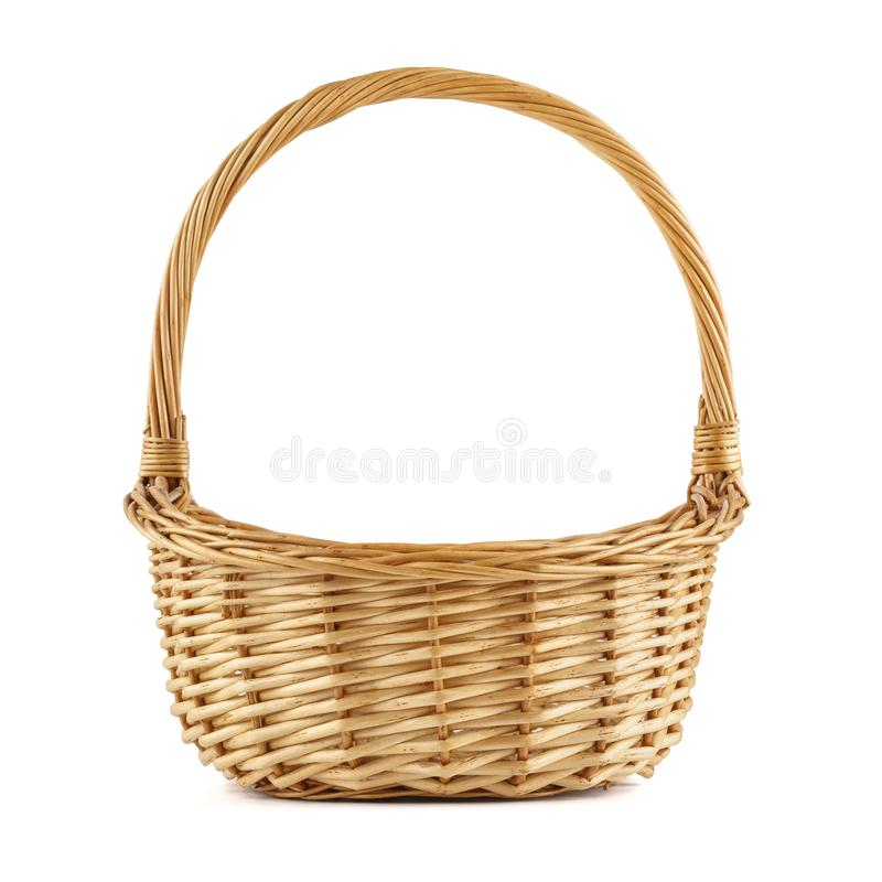 Empty wicker picnic basket. Isolated on white. Empty wicker picnic basket isolated on white stock photo