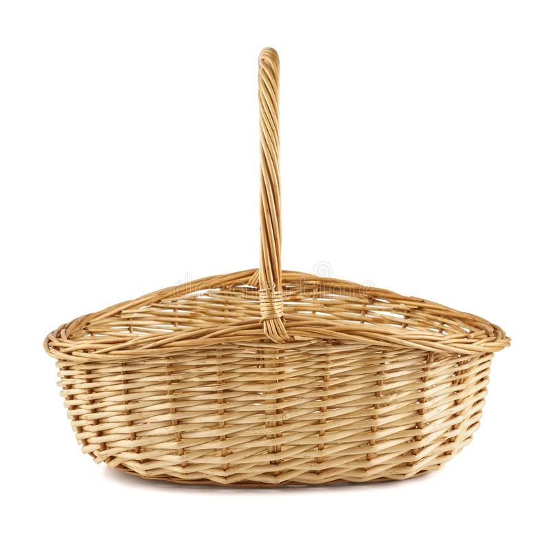 Empty wicker picnic basket. Isolated on white. Empty wicker picnic basket isolated on white. Side view stock images
