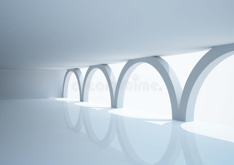Download Empty Wide Room With Arched Columns Stock Illustration - Image: 21745996