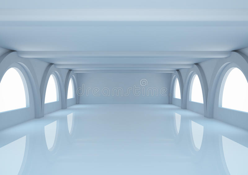Download Empty Wide Room With Balks And Arched Windows Stock Illustration - Image: 24902339
