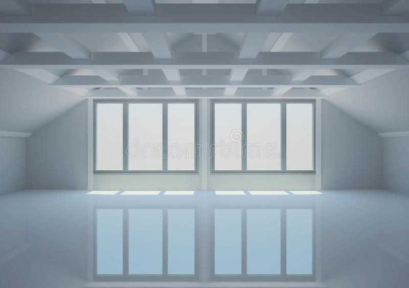 Download Empty Wide Room With Balks In The Loft Stock Illustration - Illustration: 24902629