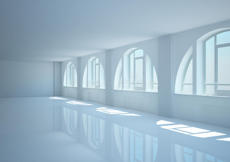 Download Empty Wide Room With Big Arched Windows Stock Illustration - Image: 21744943