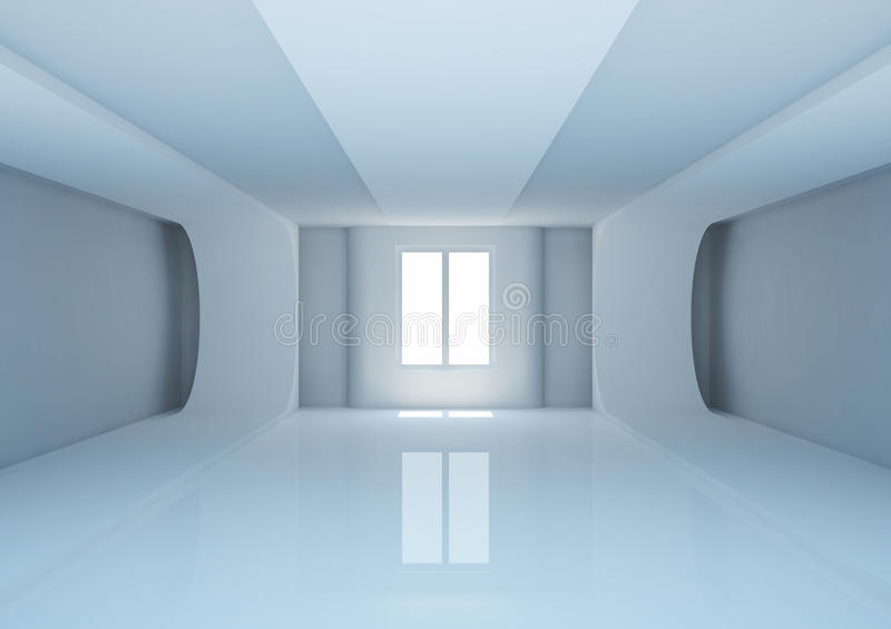 Empty Wide Room With Futuristic Construction Stock