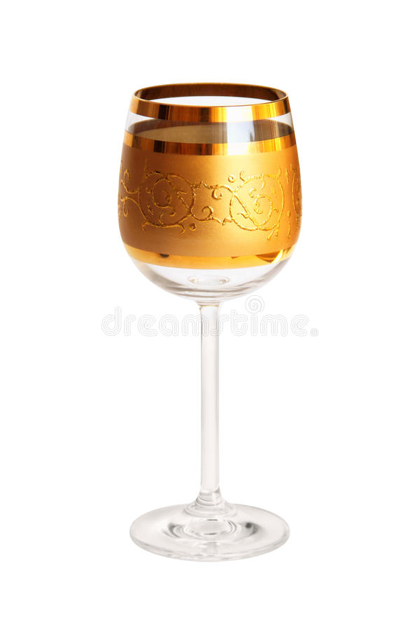 Empty Wine Glass with Gilding stock image