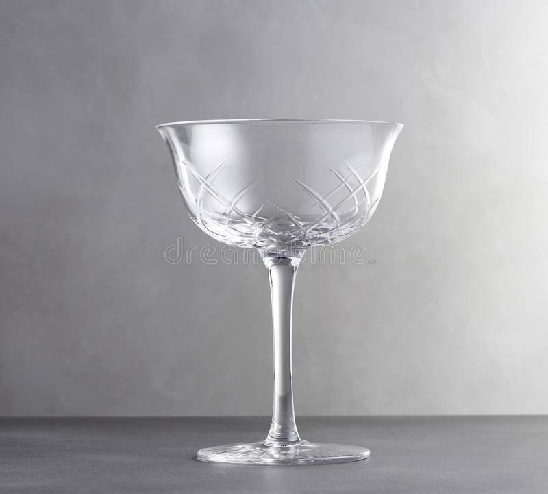 Empty Wine Glass, Realistic Template of an Empty Transparent Glass. royalty free stock photos