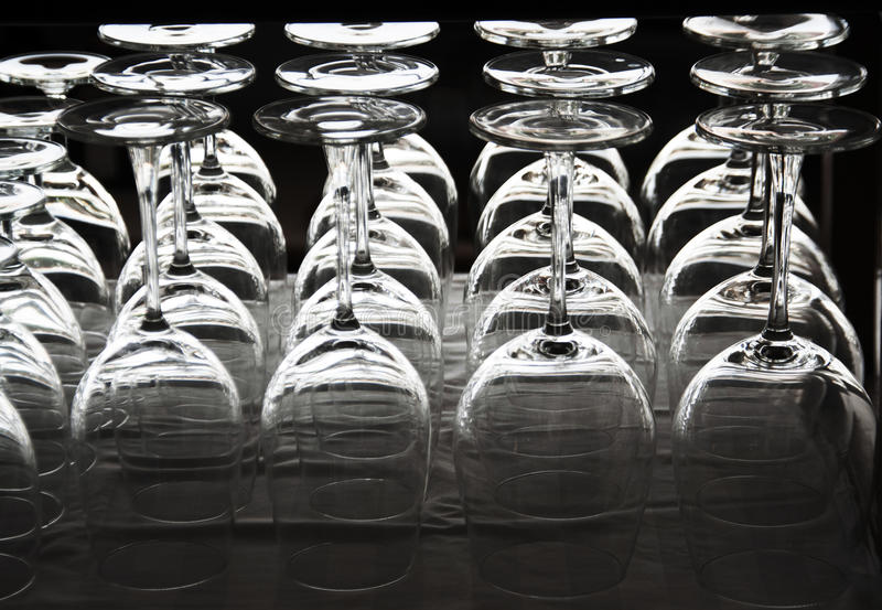 Empty wine glass roll stock photography