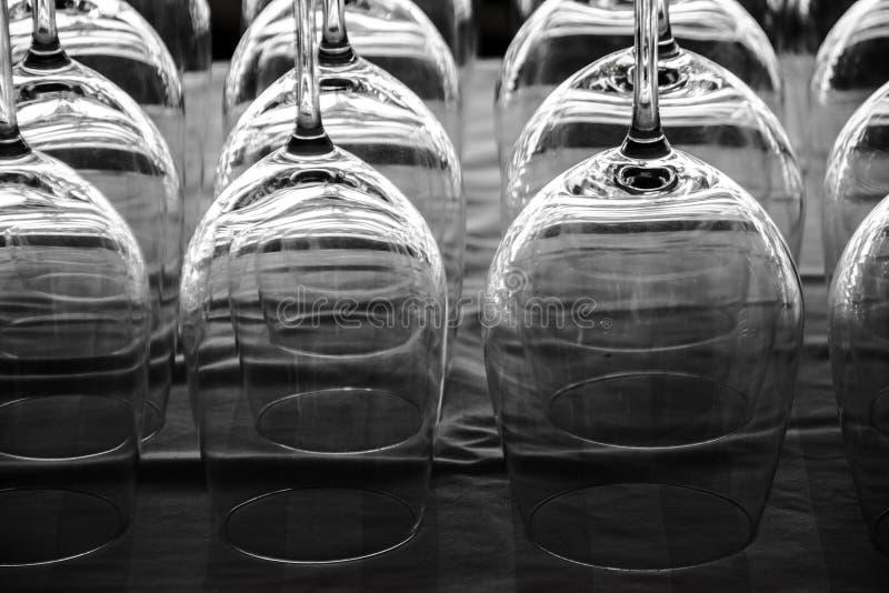 Empty wine glass roll stock photo