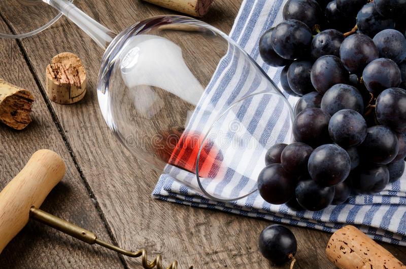 Empty wine glass on wooden table royalty free stock images