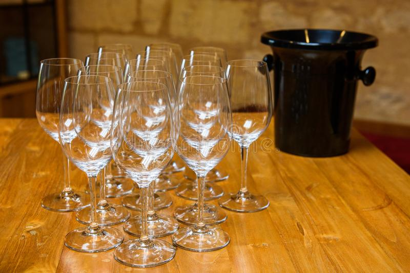 Empty wine glasses. royalty free stock images