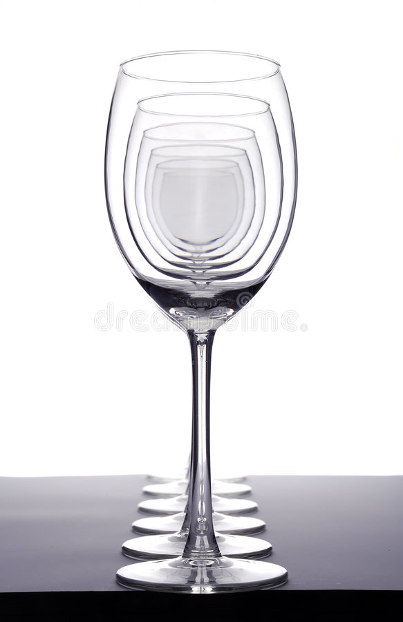 Empty wineglasses stock images