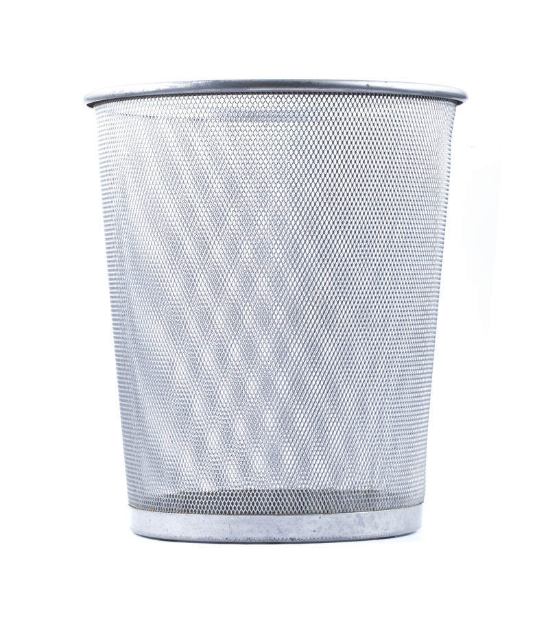 Empty wire metal bin. On white background royalty free stock photography