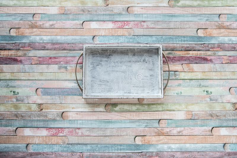 Empty wite vintage cutting board on planks food background concept.  royalty free stock photography