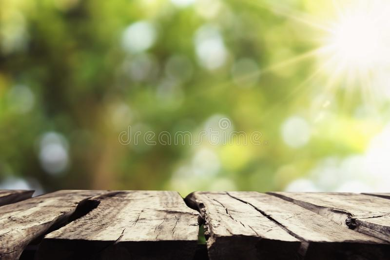 Empty wood with blur tree bokeh and sunshine background. Table, green, spring, display, top, wooden, picnic, summer, morning, color, nature, garden stock photos