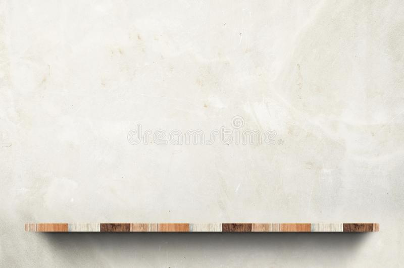 Empty wood board shelf at concrete wall background,Mock up for d. Isplay or montage of product or design royalty free stock images
