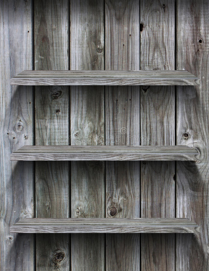 Empty wood shelf grunge interior. Background for display object stock image