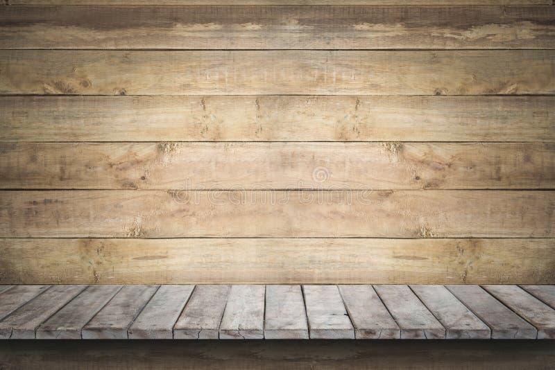 Empty wood shelf on old wood wall background. Empty wood shelf on old wood wall background,for product display stock image