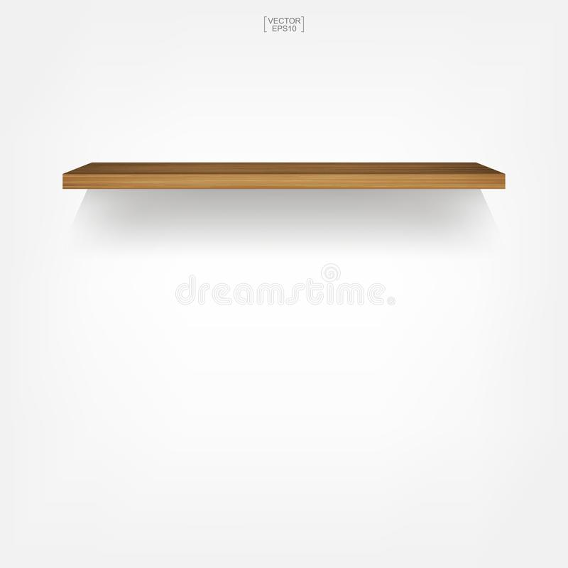 Empty wood shelf on white background with soft shadow. 3D empty wooden shelves on white wall. Vector illustration royalty free illustration